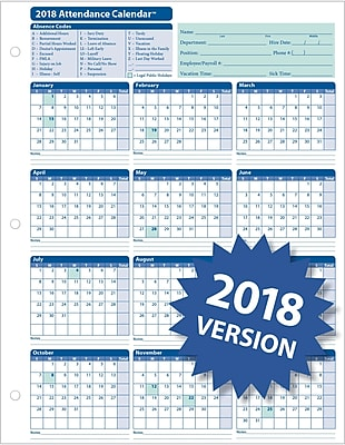 ComplyRight™ 2018 Attendance Calendar Card, White, Pack of 50 (A4000W50)