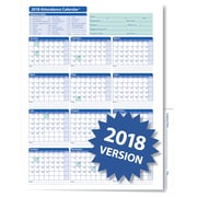ComplyRight™ 2018 Attendance Calendar Folder, White, Pack of 25