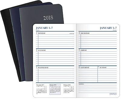 2018 Staples® Pocket Weekly Planner, 13 Months, 3 5/8