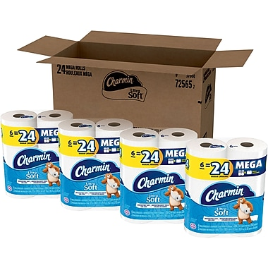 Charmin® Ultra Soft™ Toilet Paper, 2-Ply, 284 Sheets/Roll, 24 Mega Rolls/Pack (94069)