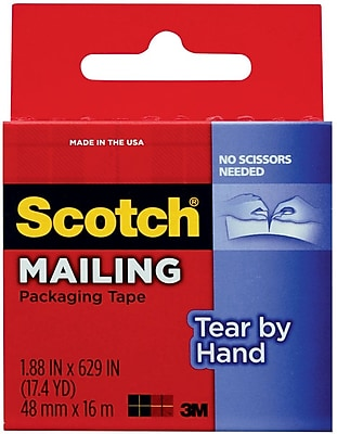 Scotch® Tear-By-Hand Packing Tape, 1.88