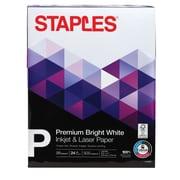 """Staples Inkjet & Laser Paper, 8 1/2"""" x 11"""", Bright White, Ream"""