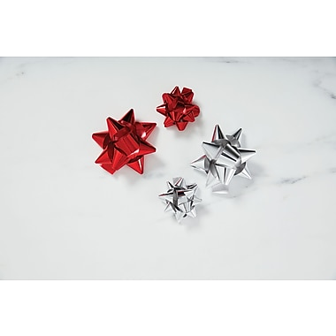 DwellStudio Gift Bows, Assorted, 22/Pack, Red & Silver