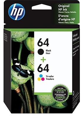 HP 64 Tri-color & Black Original Ink, 2/Pack