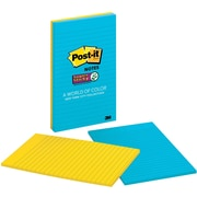 """Post-it® Super Sticky Notes, 5"""" x 8"""", New York Color Collection, 2 Pads/Pack (5845-2SSNY)"""