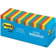 """Post-it® Notes, 3"""" x 3"""", Jaipur Collection, 18/Cabinet Pack (654-18BRCP)"""