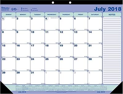 2018-2019 Blueline® Academic Monthly Desk Pad Calendar, 13 Months, 21-1/4