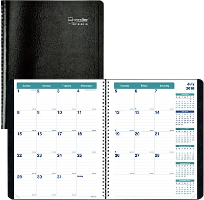 2018-2019 Brownline® Monthly Academic Planner, Black, 14 Months, 11