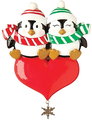Penguin Couple on Heart Ornament (OR1183-A)