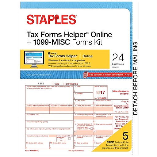 Staples 2017 Tax Forms 1099 Misc Ijl Frms And Tfh Online 24 Pk