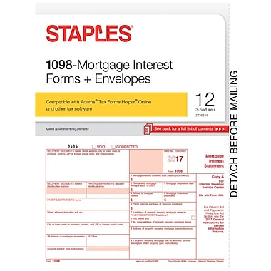 Staples 2017 Tax Forms, 1098 Mortgage Interest & Envelopes, 12/PK (STAX71098)