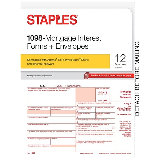 Staples 2017 Tax Forms 1098 Mortgage Interest Envelopes 12 Pack