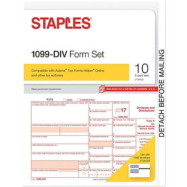 Staples 2017 Tax Forms, 1099-DIV, 10/PK (STAX517DV)