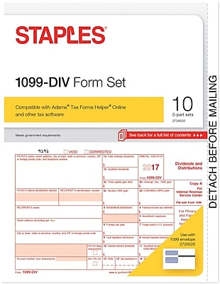 Staples 2017 Tax Forms 1099 Div 10 Pack Staples