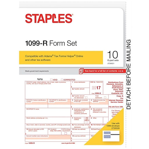 Staples 2017 Tax Forms 1099 R 10 Pack Staples