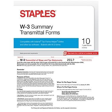 Staples 2017 Tax Forms, W-3 Summary Form, 10/PK (STAXW317)