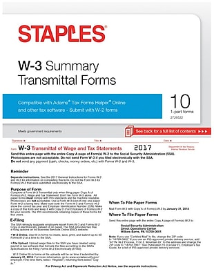 Staples 2017 Tax Forms, W-3 Summary Form, 10-Pack