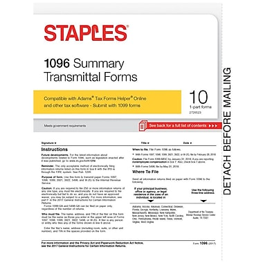 Staples 2017 Tax Forms, 1096 Summary Form, 10-Pack
