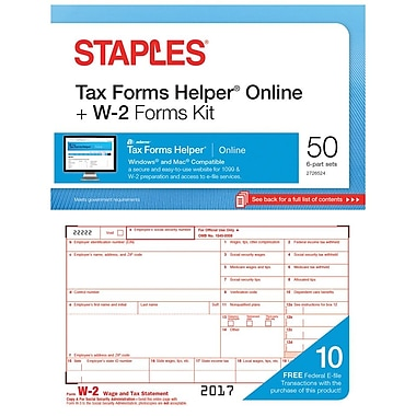 Staples 2017 Tax Forms, W-2 Tax Inkjet/Laser Forms and TFH Online, 50/PK (STAX61750)