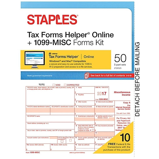 Staples 2017 Tax Forms 1099 Misc Ijl Frms And Tfh Online 50 Pk