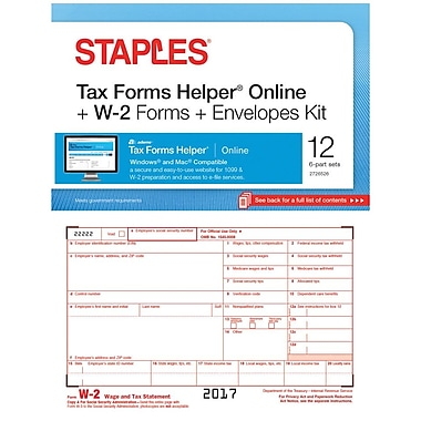 Staples 2017 Tax Forms, W-2 Inkjet/Lsr Frms TFH Online and Env 12pk