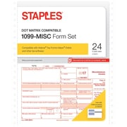 Staples 2017 Tax Forms, 1099-Misc Continuous, 24-Pack