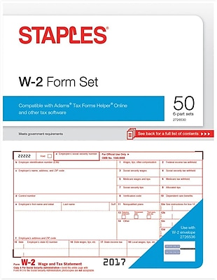 Staples 2017 Tax Forms, W-2 Inkjet/Laser, 50-Pack