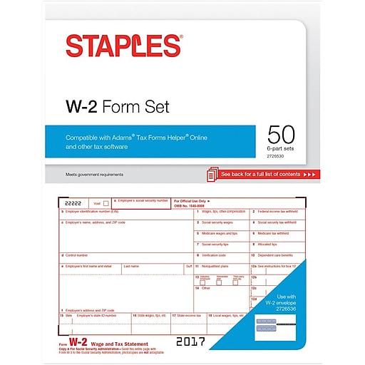 Staples 2017 Tax Forms W 2 Inkjetlaser 50 Pack Staples