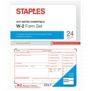 Staples 2017 Tax Forms, W-2 Continuous, 24-Pack