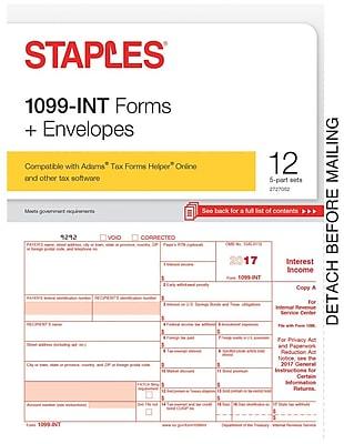 Staples 2017 Tax Forms, 1099 Interest & Envelopes, 12-Pack
