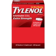 Tylenol® Extra-Strength Pain Relief Medicine, 2Ea/Pkg, 50Pkg/Box