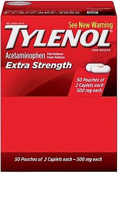 Tylenol® Extra-Strength Pain Relief Medicine, 2Ea/Pkg, 50Pkg/Box