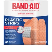 Band-Aid Adhesive Plastic Bandages, 60/Ct