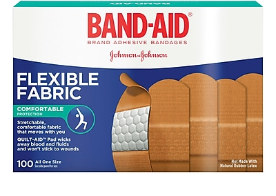 BAND-AID Brand Flexible Fabric Adhesive Bandages, 100 Count/Box (Model:4444)