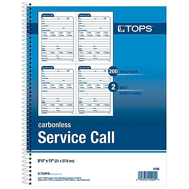 TOPS® Service Call Book, Ruled, 2-Part, White/Canary, 11