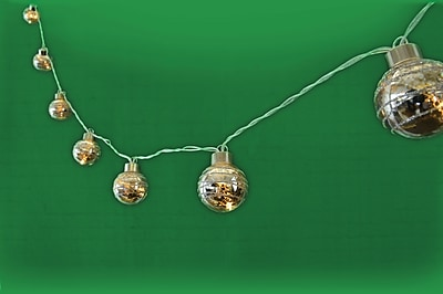 10pc Silver Glass Ball LED Lights with Try Me (28458)