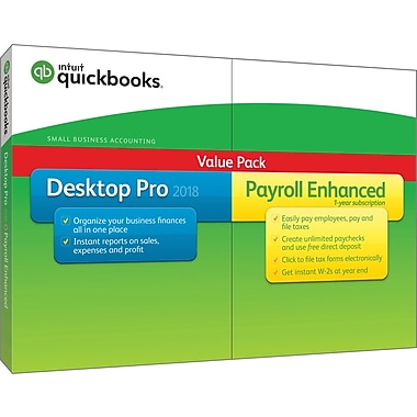 QuickBooks Pro with Enhanced Payroll 2018 (1 User) [Boxed]