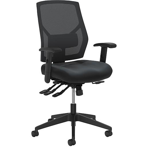 HON Crio High-Back Task Chair, Mesh Back, Adjustable Arms, Adjustable Lumbar, Black Leather (BSXVL582SB11T) NEXT2019 NEXTExpress