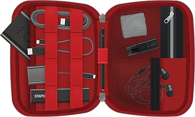 Staples Mobile Accessory Organizer, Black/Red