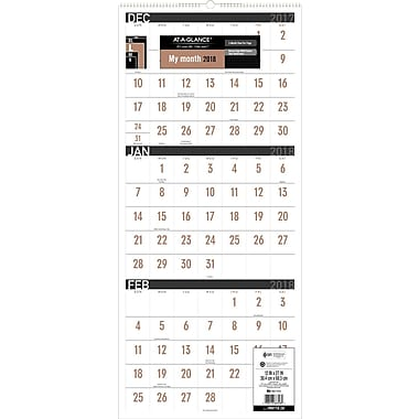 2018 AT-A-GLANCE® 3 Month Reference Wall Calendar, December 2017-January 2019, 12