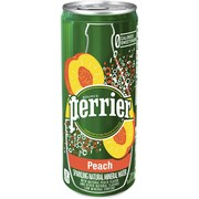 Perrier Sparkling Natural Mineral Water, Peach, 8.45 oz. Slim Cans, Pack of 10 (12350540)