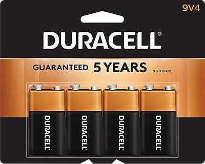 Duracell Coppertop 9V Alkaline Batteries, 4/Pack
