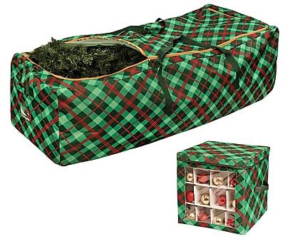 Honey Can Do Set of Plaid Rolling Tree Storage Bag & Plaid Ornament Storage Cube (SFTX07862)