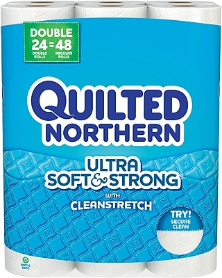 Quilted Northern Ultra Soft & Strong Toilet Paper, White, 24 Double Rolls 2803140