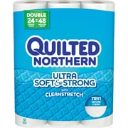 Quilted Northern Ultra Soft & Strong Toilet Paper,  White, 24 Double Rolls