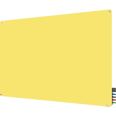 Ghent Harmony Magnetic Glass Dry Erase Board, Frameless, Yellow, 6' x 4'