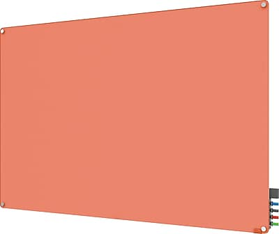Ghent® Harmony Magnetic Glass Markerboard With Round Corner, Peach, 4' x 6'