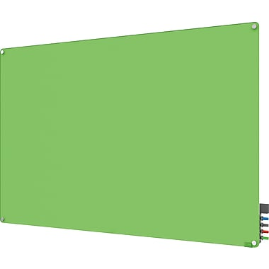 Ghent Harmony Magnetic Glass Dry Erase Board, Frameless, Green, 6' x 4'