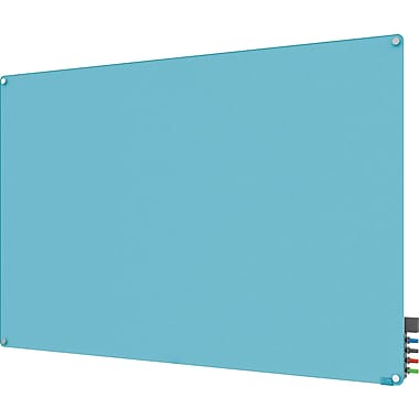 Ghent Harmony Magnetic Glass Markerboard With Round Corner, Blue, 4' x 6'