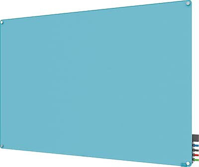 Ghent® Harmony Magnetic Glass Markerboard With Round Corner, Blue, 4' x 6'
